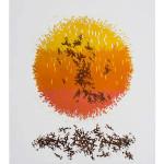"""Anu Trzepańska, """"Stos Słoneczny"""", linoryt, 70 x 50 cm, cena: 1 000 zł"""