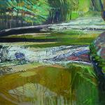 """Małgorzata Kapłan, """"Słoneczne szumy"""", 81 x 100 cm, technika mieszana, płótno, cena: 5400 zł"""